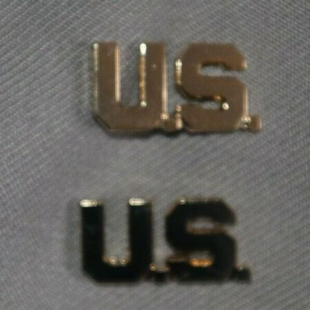 img-GENUINE US WW2 - TODAY US OFFICER'S GILT LETTERS COLLAR BADGES INSIGNIA CUT OUT