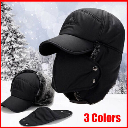 img-Men Winter Warm Face Mask Cap Aviator Trapper Trooper Ski Hats with Earflap UK
