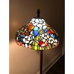 Kyпить VINTAGE TIFFANY STYLE  MOSAIC STAINED GLASS LAMP - standing tall lamp  на еВаy.соm