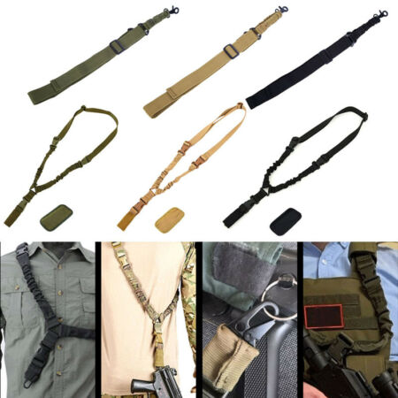 img-Single Point Bungee Rifle Sling Gun Shoulder Pad Strap Tape Outdoor Belt Tools