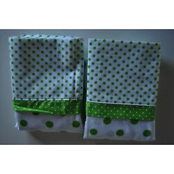 Kyпить Vintage Pillowcases Springmaid Standard Green & White Polka Dot Set of 2 на еВаy.соm