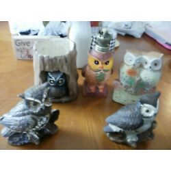 Kyпить 5 CERAMIC OWL FIGURINE: Painted Wick Lamp Owlet Tree Planter Horned Figure Homco на еВаy.соm