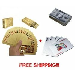 Kyпить 2 Decks!!! Deck of Gold and Silver Foil Plating Poker Plastic Playing Cards Gift на еВаy.соm