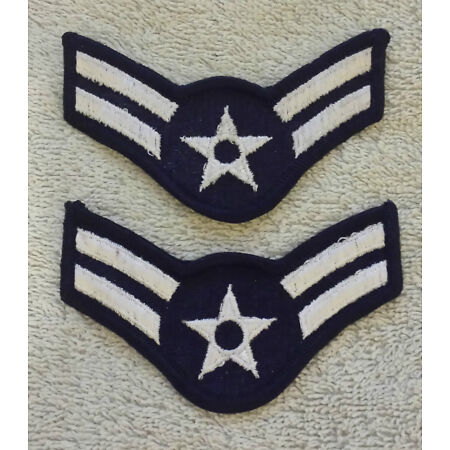 img-US AIR FORCE RANK PATCHES PAIR Airman First Class Stripes Badge USAF Small Size