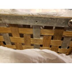 Stonewall Kitchen two-tiered bamboo basket with metal accents still in package