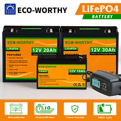 10AH 20AH 30AH 12V Rechargeable Lithium Battery LiFePO4 for RV Boat Solar Home