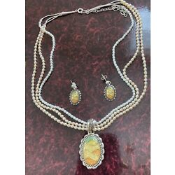 Kyпить Vintage Carolyn Pollack Sterling Silver Relios Inlay Sunrise necklace + earrings на еВаy.соm