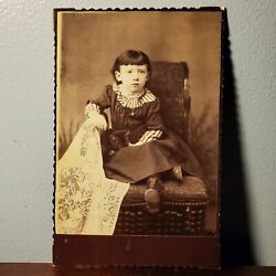 Kyпить Antique Victorian Cabinet Card Photo of Young Girl Sitting in Chair w/ Cat 1880s на еВаy.соm
