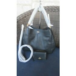 NEW Coach Small/MD X-body/ Shoulder Leather Black Bag or Bag+Wallet Set Options