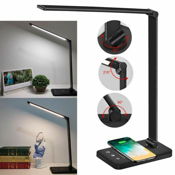 United KingdomUK Dimmable LED Desk Table Lamp QI Wireless Phone Charger Reading Study Light LE