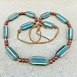 Kyпить CHEVRON Trade Beads Native Indian African ? GREEN Four Layer Large OLD Necklace  на еВаy.соm
