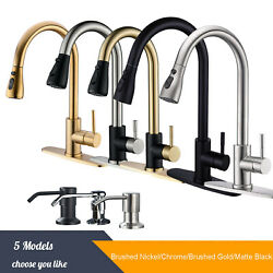 Kyпить  Single Handle Brushed Nickel Kitchen Sink Faucet Pull Down Sprayer with Cover на еВаy.соm