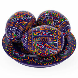 Kyпить Set of 3 Purple Wooden Ukrainian Easter Eggs on a Plate на еВаy.соm