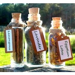 Herbs in Glass Cork Bottle Apothecary Vial Organic Yoga Herb Decor Gift Wicca