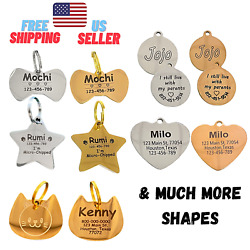 PERSONALIZED PET TAGS, ID STAINLESS STEEL, BRASS 2 SIDE ENGRAVE DOG CAT NAME TAG