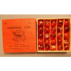 Kyпить Boxed set of Akro Agate Cardinal Reds. Original, vintage box, in Excel. Cond.   на еВаy.соm