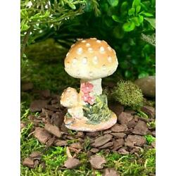 Tan Mushroom with Two Small Toadstools and Flowers, 2'' Tall
