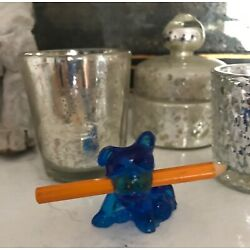 Kyпить Vintage Boyd Boston Terrier French Bulldog Vaseline Glass Bridge Pencil Holder   на еВаy.соm