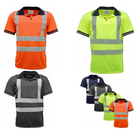 img-Hi Vis Polo T Shirts With Navy Collar & Hem Work Security Super Soft Safety Tops