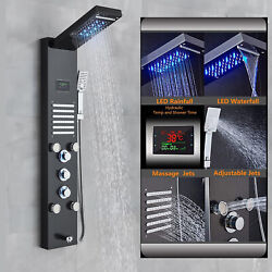 Stainless Steel Shower Panel Tower Massage Body Jet System LED Rain&Waterfall
