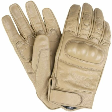img-MIL-TEC Tactical Leather Gloves Colour Coyote Various Sizes New #3356