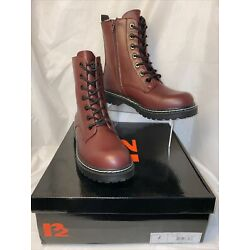 R2 ROMA Womens Lace Up Zip Close Combat Boots Burgundy Size 6.5-8.5 *H