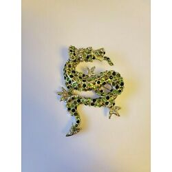 Kyпить KJL by Kenneth Jay Lane, Shades of Green Pave' Dragon Pin, Signed ©KJL на еВаy.соm