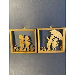"""Kyпить Lot Of 2 Vintage Wood Cuts Children 4.5"""" One Is Kearns Wood Cuts From Wisconsin на еВаy.соm"""