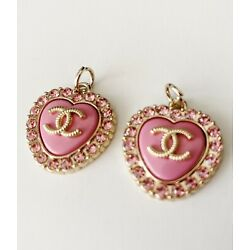 Kyпить 2 Pink Chanel Heart Buttons Charms Stamped на еВаy.соm