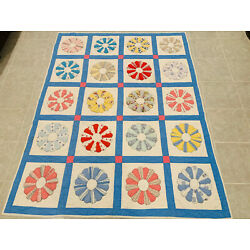 Kyпить ????Vintage Dresden Plate Style • Large Hand Stitched Quilt • 73 X 58 на еВаy.соm