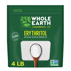 Whole Earth Sweetener 100% Erythritol Sweetener, 4 Pound Pouch, Natural Sugar