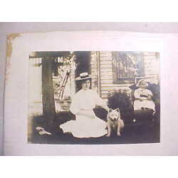 Kyпить 1890s ANTIQUE CABINET PHOTO YOUNG OHIO LADY WITH STRAW HAT WHITE DOG & BABY VG+ на еВаy.соm