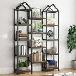 Kyпить Tribesigns Rustic Triple Wide Bookshelf w/ 12 Open Shelves Wood Etagere Bookcase на еВаy.соm