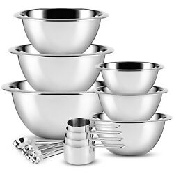 Stainless Steel Mixing Bowls 14 Piece Bowl Set with Measuring Cups and Spoons