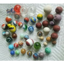 Lot of 50 Vintage & Antique Marbles Glass, Agate, Swirl, Clay -  Estate Find