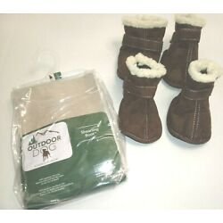 Outdoor Dog : SHEARLING BOOT Size Large - Brown Suede & Sherpa Boots for Dogs