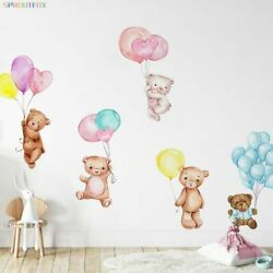 Wall Stickers Colorful Balloons Vinyl Living Room Cute Bear Children Decorative