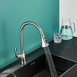 Pull-Down Sprayer Kitchen Faucet Sink Swivel Spout Deck Mounted Single-Handle