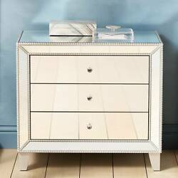 Liza 30'' Wide Mirrored 3-Drawer Accent Table