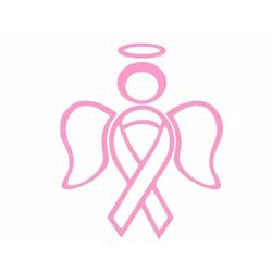 RIBBON ANGEL car wall decal sticker support breast cancer love awareness halo