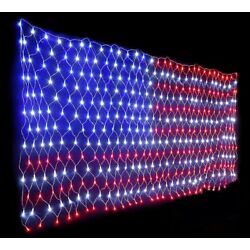 Extra Bright USA American Flag Lights Net String Light LEDs 3 x 6.5 FT Outdoor