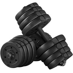 66 LB Weight Dumbbell Set Adjustable Cap Home Gym Barbell Plates Body Workout
