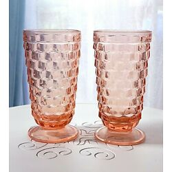 2 - Vintage Indiana Whitehall Pink Cubist Depression Glass Large Footed Glasses