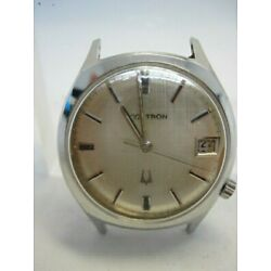 Accutron M7 Tuning Fork Watch All Steel Linen Dial Date Parts
