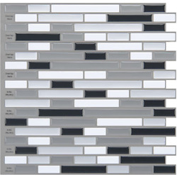 Art3d 12'' x Peel and Stick 12in x 12in, Gray, White, Gray-white X
