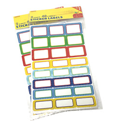 (2) Adhesive Labels 48 Label Pack Decorative Organize Stickers Craft NEW