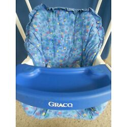 Vintage Baby Graco Open Top Swing Easy Entry 2 Speed with Box VGC blue cushion