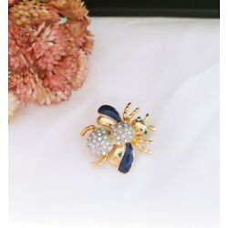 (W) vintage Honey Bumble Bee Insect Bug Blue Enamel Rhinestone Brooch Pin Gold