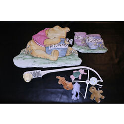 Classic Winnie The Pooh Honey Pots Quilted Wall Hangings & Musical Crib Mobile