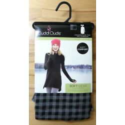 Cuddl Duds Softwear Cowl Tunic With Thumbholes Women's 1X Black Check NEW